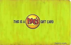 Moes Southwest Grill gift card